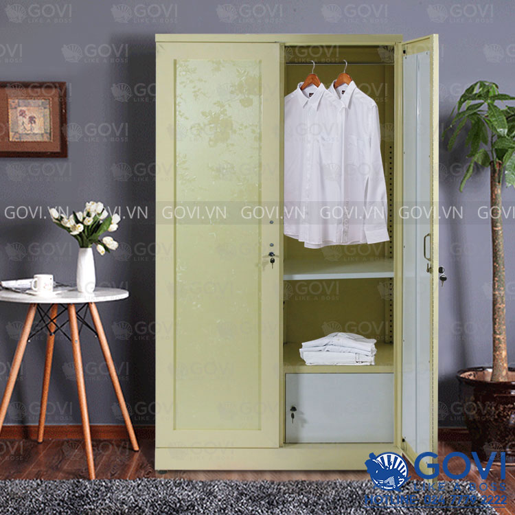 Tủ sắt đựng quần áo hoa văn QA01R