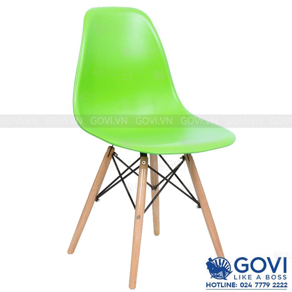 Ghế cà phê lưng nhựa màu xanh lá CF1-L