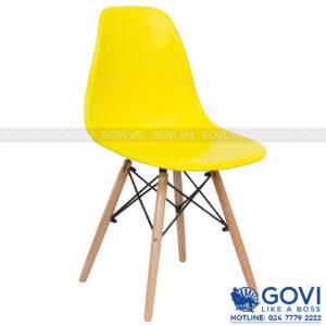 Ghế cà phê lưng nhựa màu vàng CF1-V