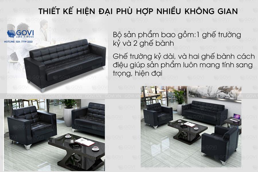 Sofa da hiện đại Sofa01-18 màu đen 2