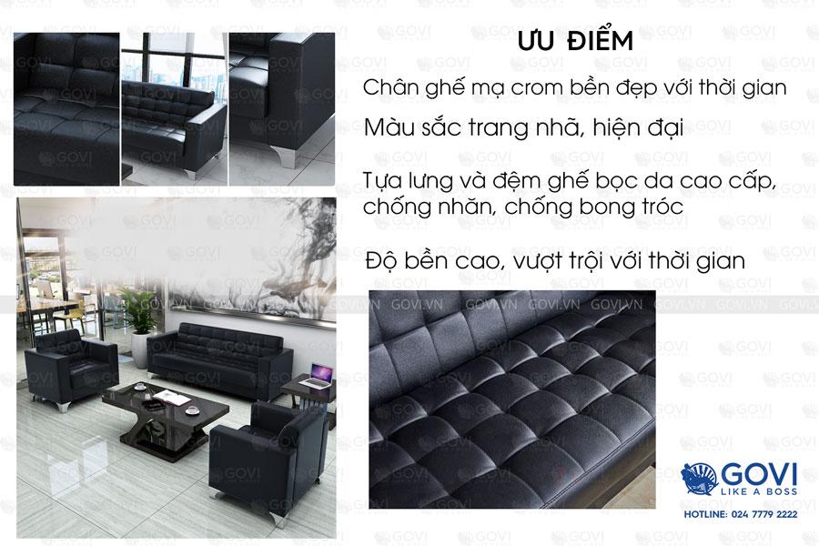 Sofa da hiện đại Sofa01-18 màu đen 3
