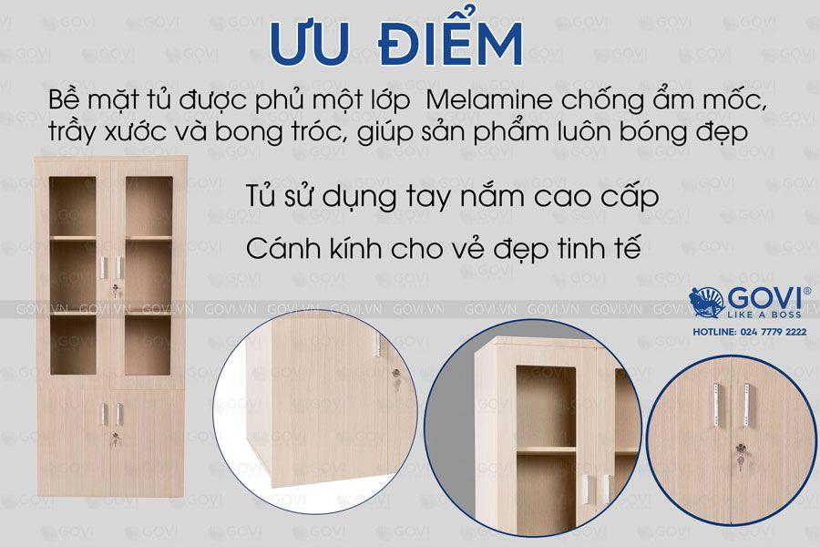 Tủ tài liệu gỗ Classic 2 cánh kính 6