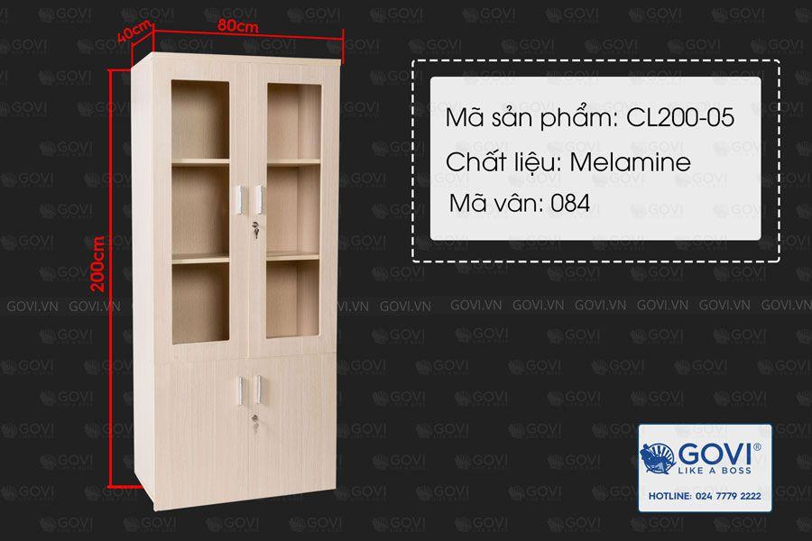 Tủ tài liệu gỗ Classic 2 cánh kính 7