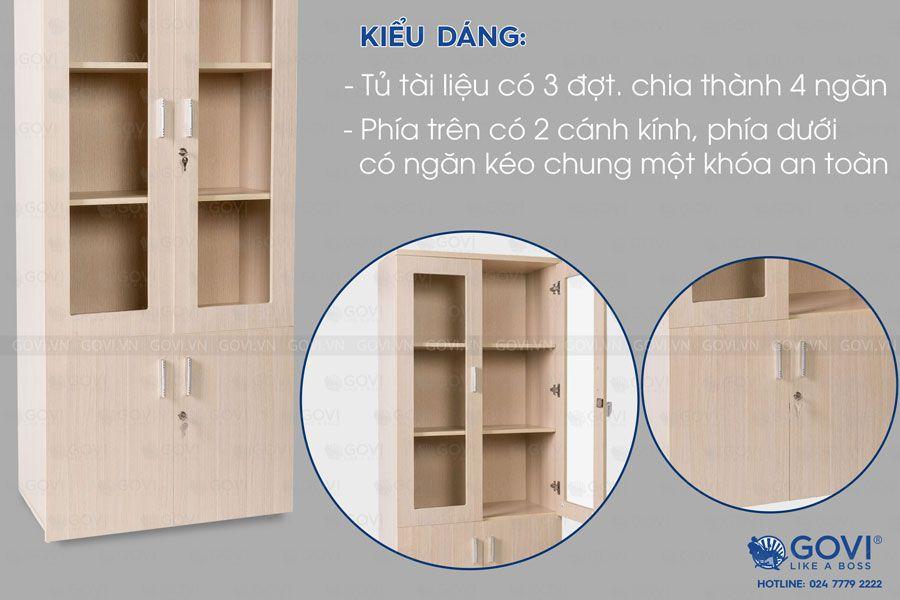 Tủ tài liệu gỗ Classic 2 cánh kính 3