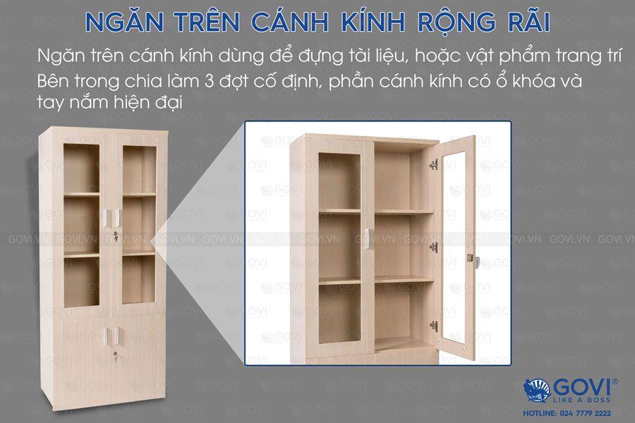 Tủ tài liệu gỗ Classic 2 cánh kính 4