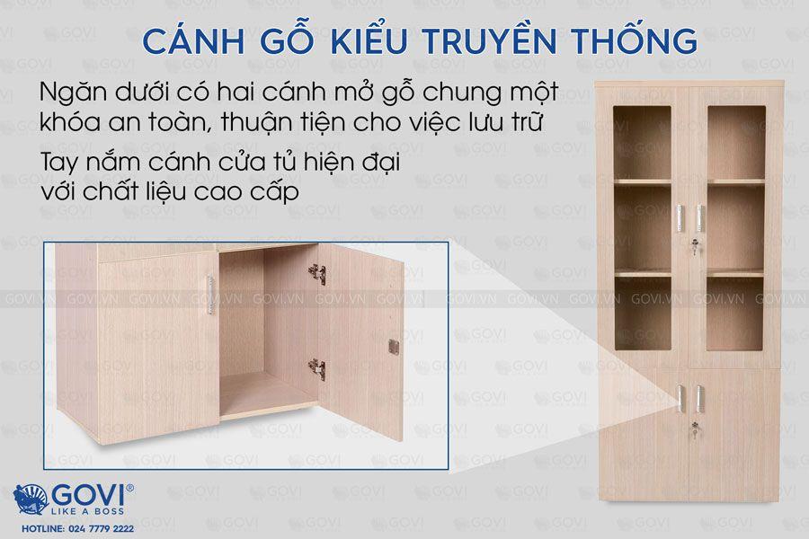 Tủ tài liệu gỗ Classic 2 cánh kính 5