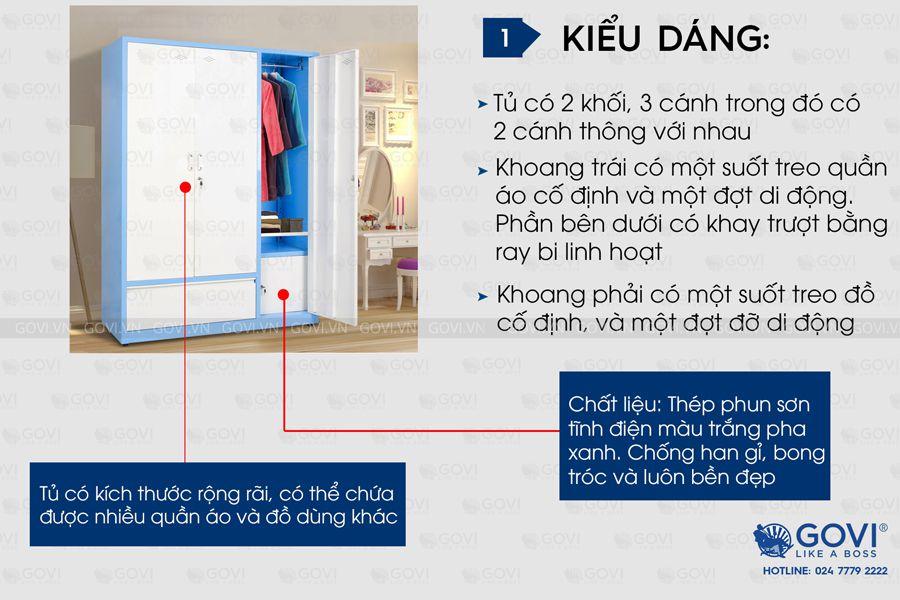 Tủ sắt đựng quần áo QA02K-X5