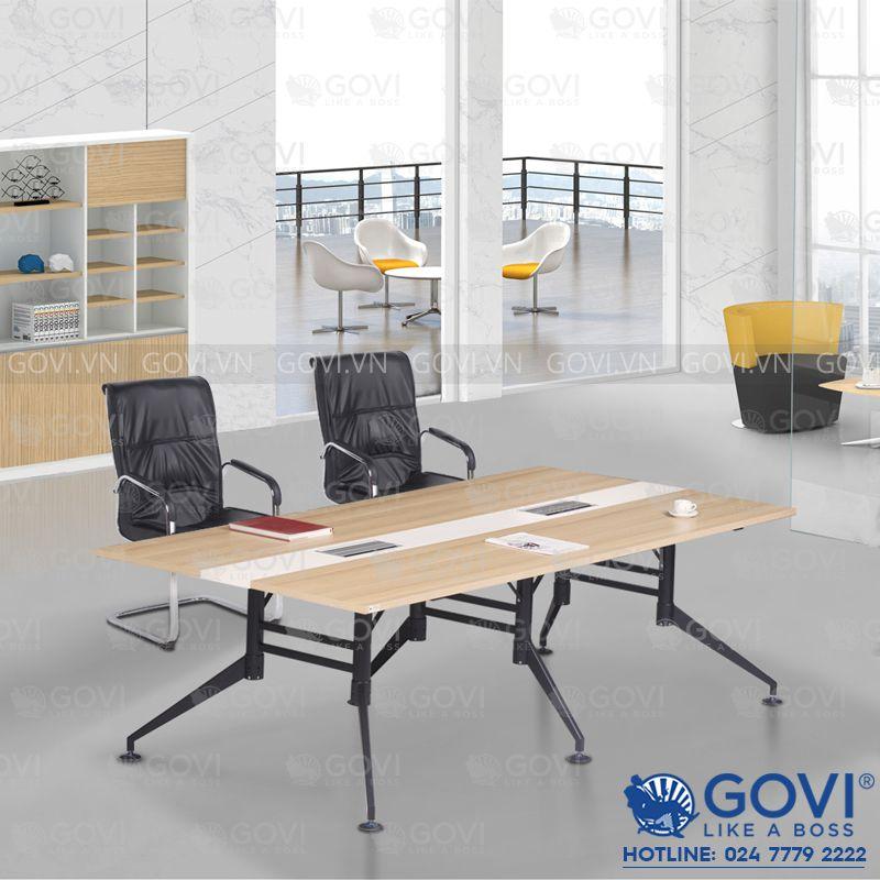 Bàn họp văn phòng chân sắt đen Iris 2m4 (IR2412-D-7392T)