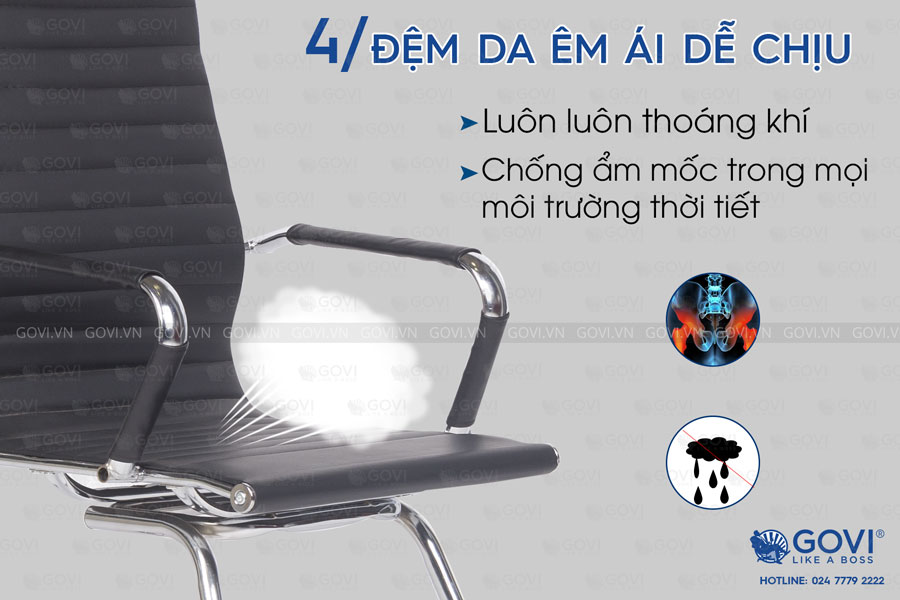 Ghế phòng họp chân quỳ da LO14Q-6