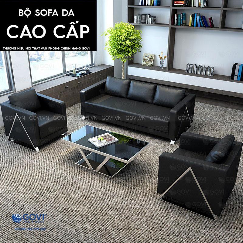 Sofa da cao cấp Sofa07-16 màu đen 1