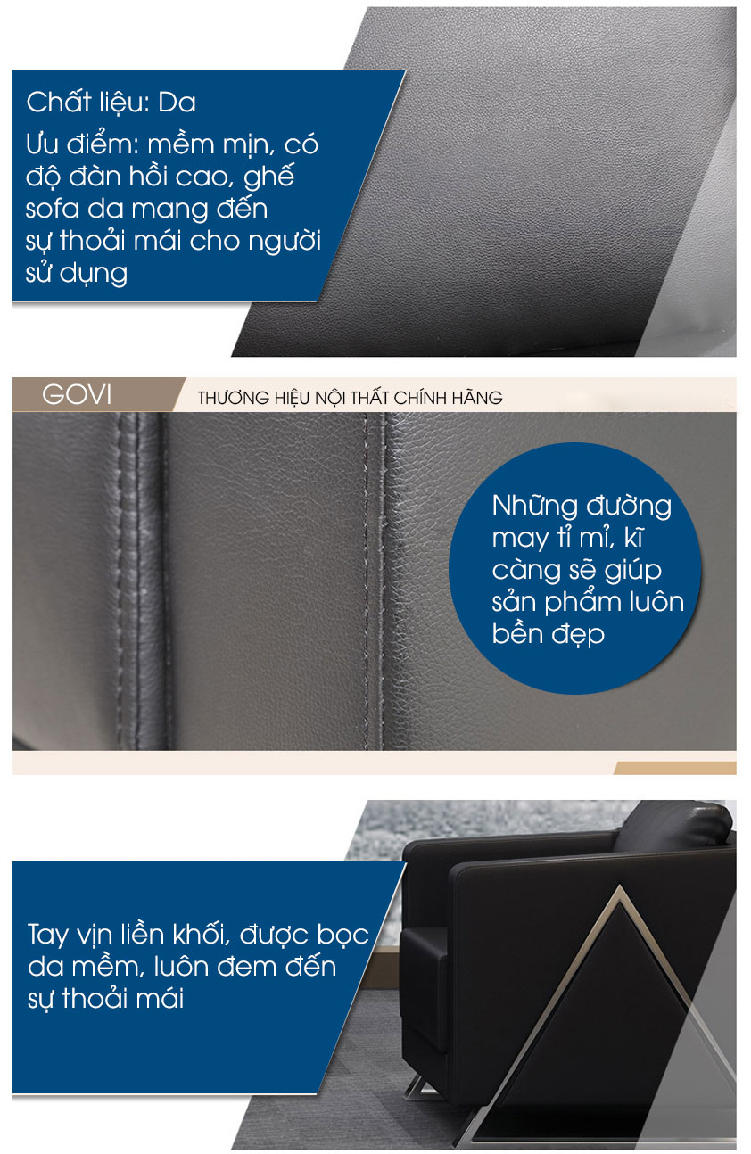 Sofa da cao cấp Sofa07-16 màu đen 4