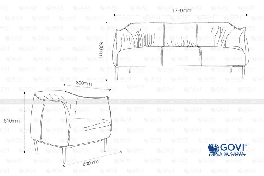 Sofa da cao cấp Sofa06-18 màu đen 8