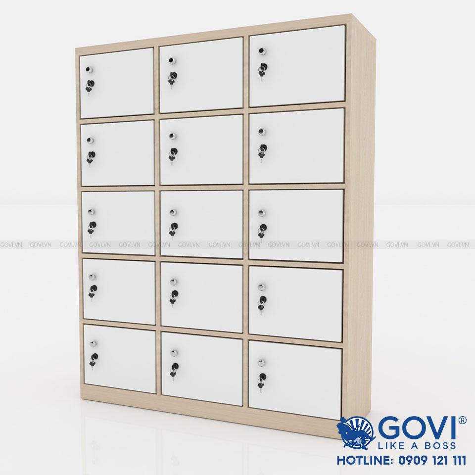 Tủ locker gỗ 15 cánh 3 khoang LKG15C3K-T
