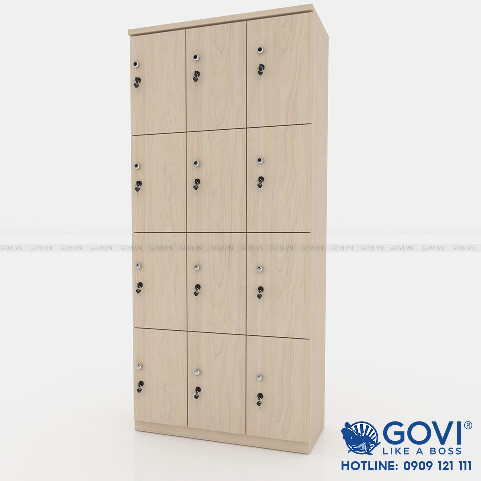 Tủ locker gỗ 12 cánh 3 khoang LKG12C3K