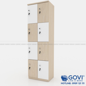 Tủ locker gỗ 8 cánh 2 khoang LKG8C2K-TN